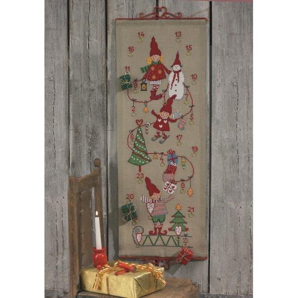 Julekalender med nisser i moderne design i natur hør