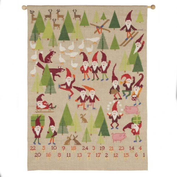 Julekalender tynde  Nisser i natur hør 10 tråde 5 sting pr. cm