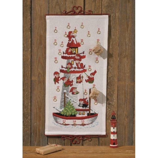 Julekalender Nissefyrtårn i hvid Aida