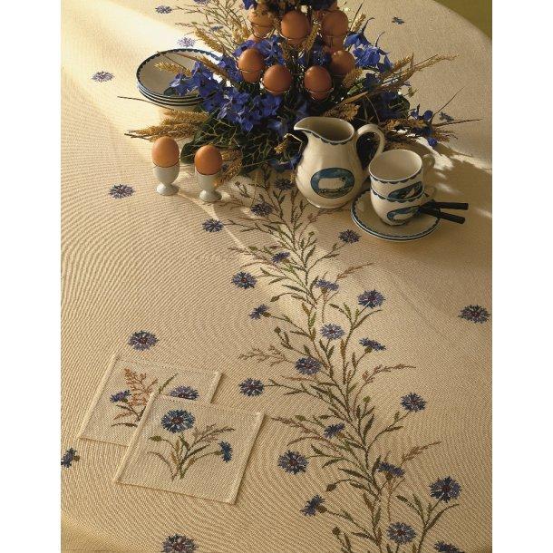 Clara Væver Eva Rosenstand dug blå kornblomst ranke mønsterkit uden stof