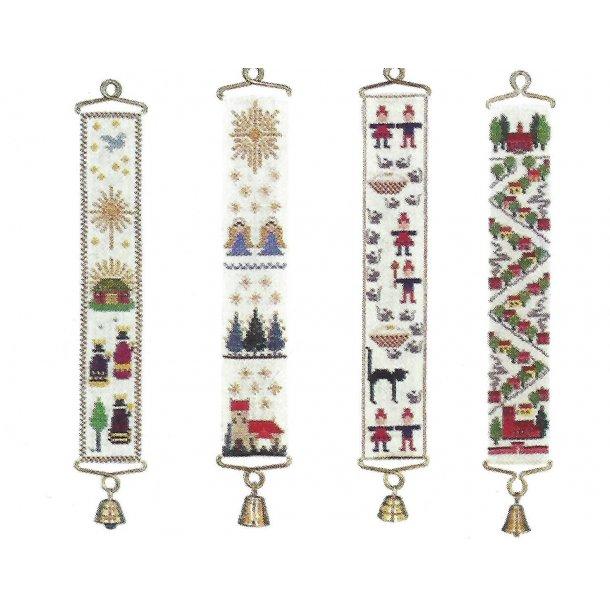 Lille juleklokkestreng 4 forskellige motiver  i ubleget hør 12 tråde 6 sting pr. cm