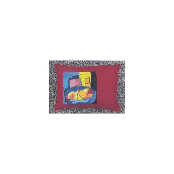 Abstrakt frugtkurv eller kande - 2 varianter pude Sykit - Pude 40x55 cm korsting Aida 6 sting pr. cm