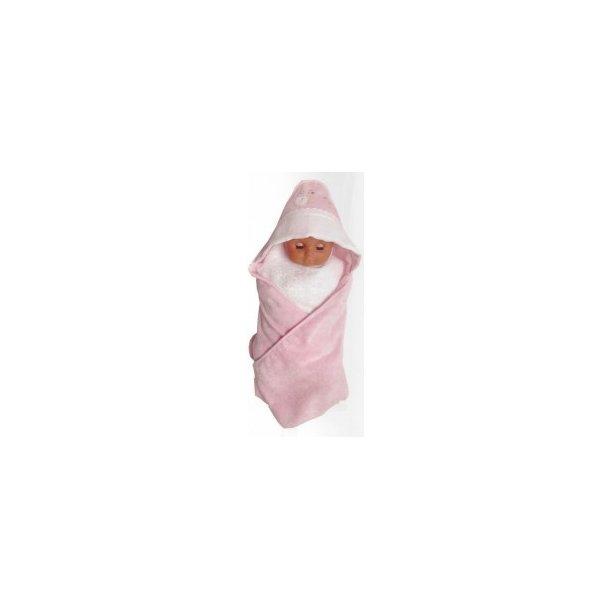 RESTSALG : Baby Frotte Omslag/Cape i lyserød med lille snegl med 5,4 aida bånd