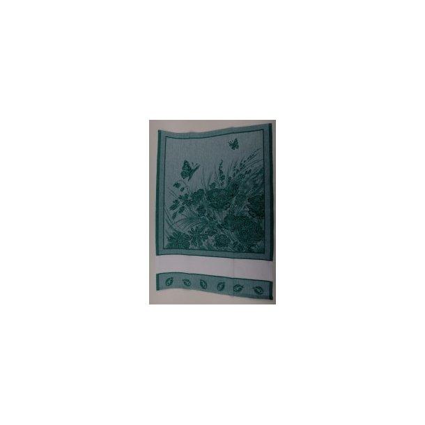 Viskestykke i grøn bomuld med blomster 55x80 cm, klik for flere farver