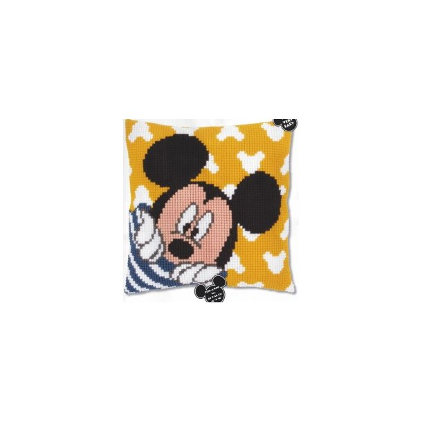 Mickey Disney fortrykt Sykit - Stramaj Pude 40x40 cm korsting 2 sting pr. cm