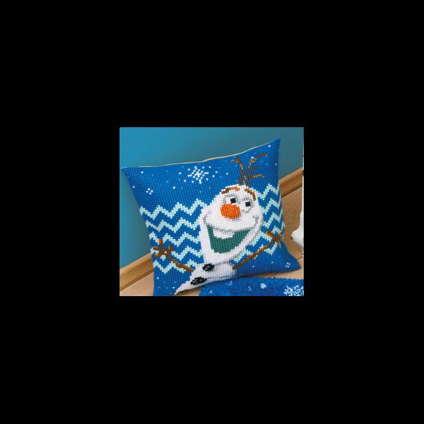 Disney Olaf fra Frost fortrykt Sykit - Stramaj Pude 40x40 cm korsting 2 sting pr. cm