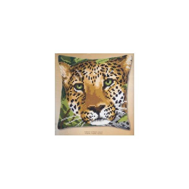 Leopard fortrykt Sykit - Stramaj Pude 40x40 cm korsting 2 sting pr. cm